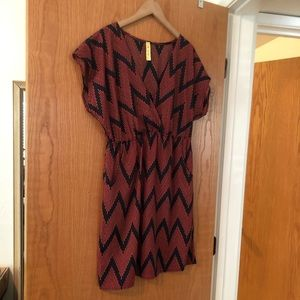 Printed Lightweight Dress with Elastic Waist Large